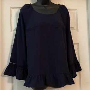 A New Day Nagy blue blouse with bell sleeves